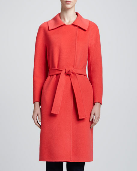Wool/Cashmere Dolman-Sleeve Coat, Hibiscus
