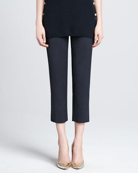 Audrey Side-Zip Capri Pants, Caviar