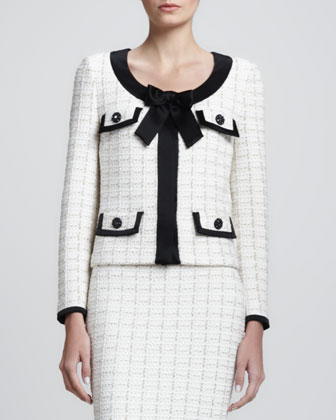 Plaid Bracelet-Sleeve Jacket with Bow, White/Multi