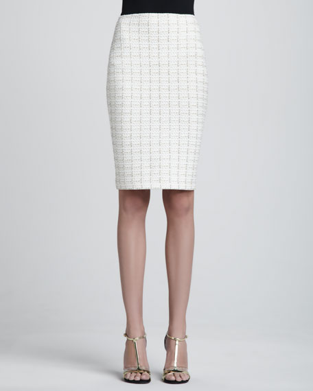Plaid Pencil Skirt, White/Multi