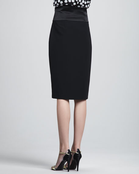 High-Waist Pencil Skirt, Caviar