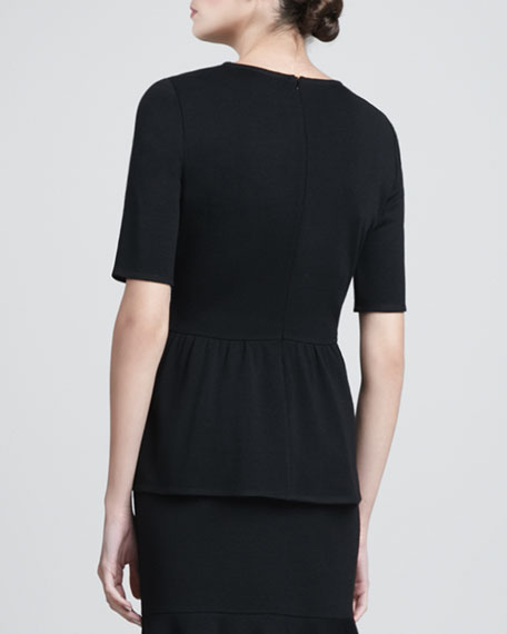 Milano Knit Top with Back Gathered Peplum, Caviar