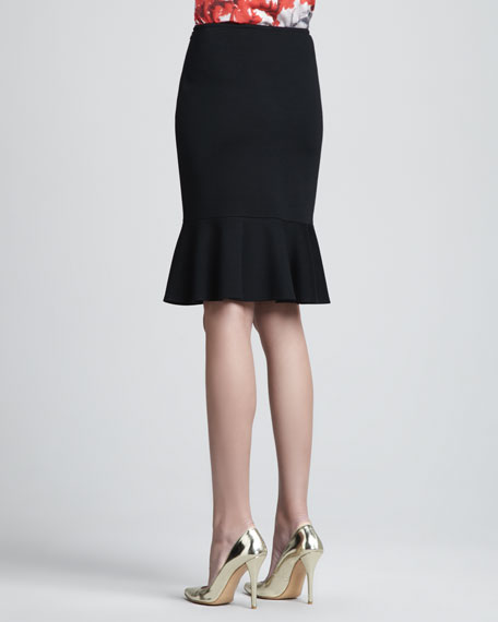 Milano Flounce Pencil Skirt, Caviar