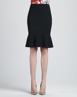 St. John Collection Milano Flounce Pencil Skirt, Caviar