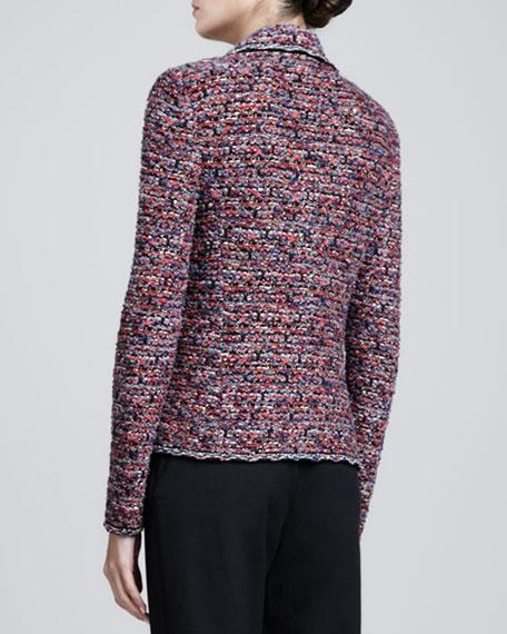 Sequined Metallic Fleck Tweed Knit Jacket, Hibiscus