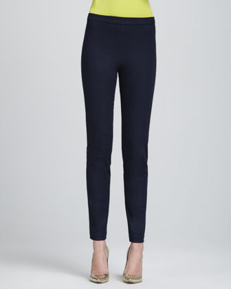 Elastic-Waist Denim Leggings, Indigo