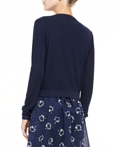 Ribbed Flower-Button Cardigan