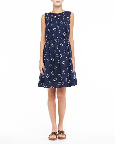 Printed Pleated Slip Dress