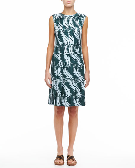 Printed Paneled Pleat Dress