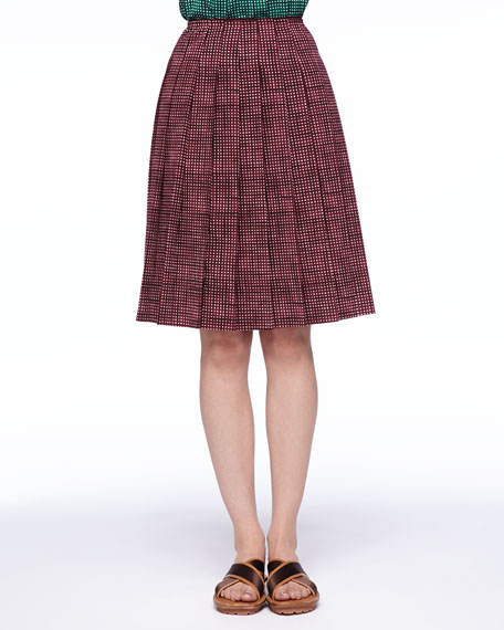 Pleated Grid-Print Skirt