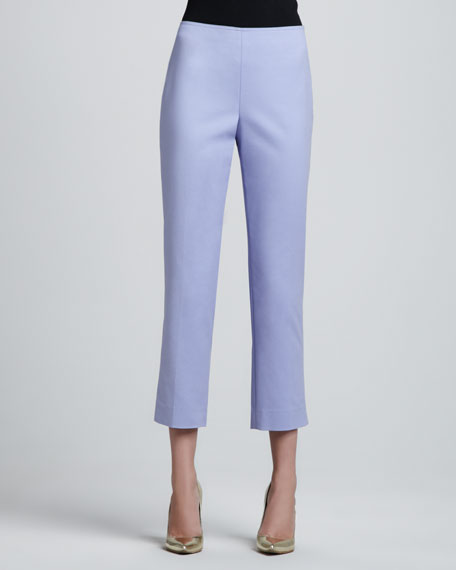 Audrey Side-Zip Capri Pants, Periwinkle