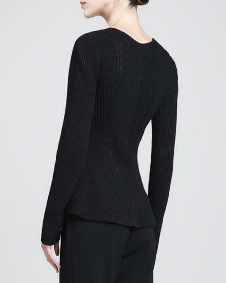 Ribbed Peplum Sweater, Caviar
