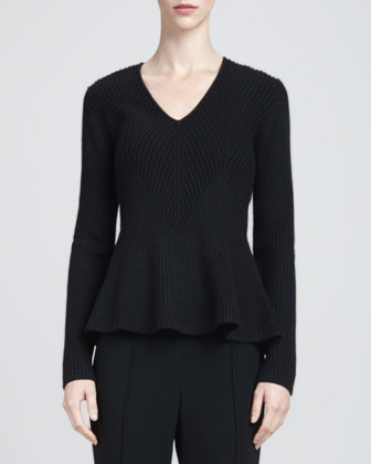 Ribbed Peplum Sweater, Caviar