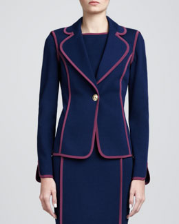 St. John Collection Milano Fitted Blazer, Marine Blue