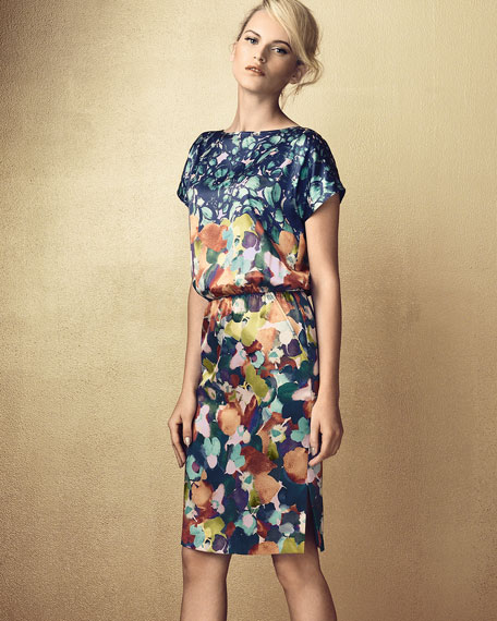 Floral Stretch Silk Charmeause Cap-Sleeve Dress, Dusty Peach/Multi