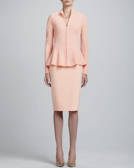 Crepe Marocain Lined Pencil Skirt, Peach