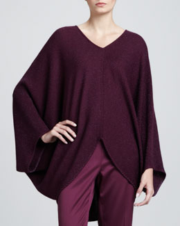 St. John Collection Long-Sleeve Metallic Links Poncho, Chambord
