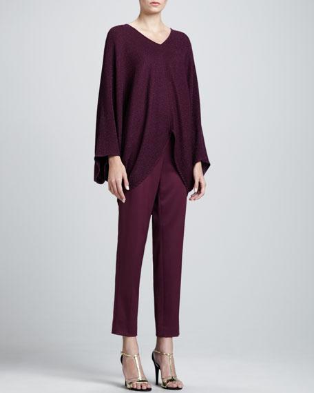 Emma Venetian Wool Cropped Pants, Chambord