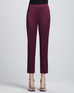 St. John Collection Emma Venetian Wool Cropped Pants, Chambord