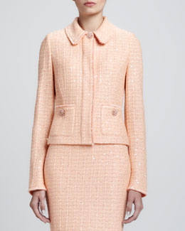 St. John Collection Tweed Knit Jacket with Pockets, Peach
