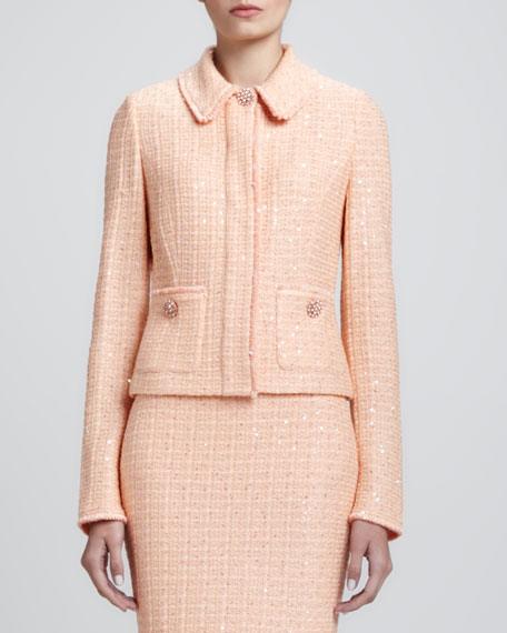 Tweed Knit Jacket with Pockets, Peach