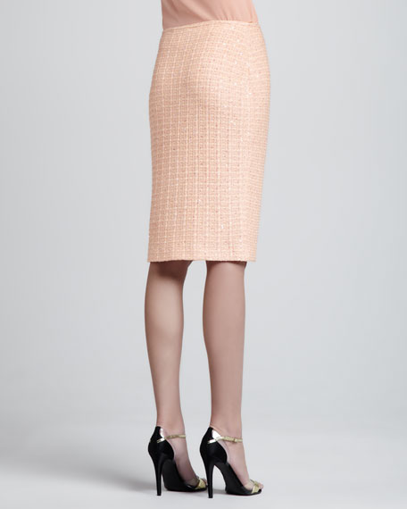 Lined Tweed Knit Pencil Skirt, Peach