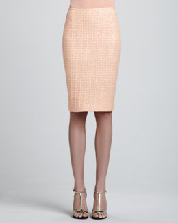 St. John Lined Tweed Knit Pencil Skirt, Peach