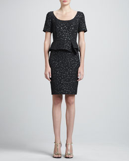 St. John Tulip Cloque Dress with Peplum, Caviar/Multi