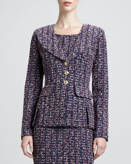 St. John Collection Deco Collar Jacket, Marine/Multi