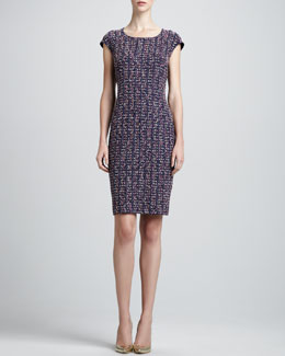 St. John Collection Tweed Scoop-Neck Sheath Dress, Marine/Multi