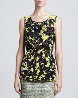 St. John Collection Layered Scoop-Neck Blouse, Limestone/Multi