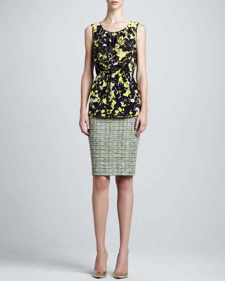 Layered Leaves Tweed Pencil Skirt, Chartreuse