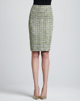 St. John Collection Layered Leaves Tweed Pencil Skirt, Chartreuse