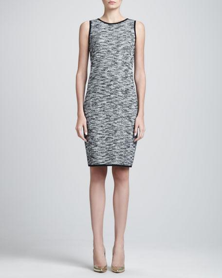 Sleeveless Fleck Tweed Shift Dress, Caviar/Multi