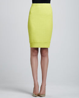 St. John Collection Linked Grid Pencil Skirt, Chartreuse