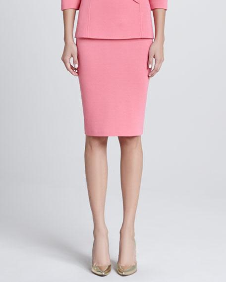 Milano Knit Pencil Skirt, Flamingo