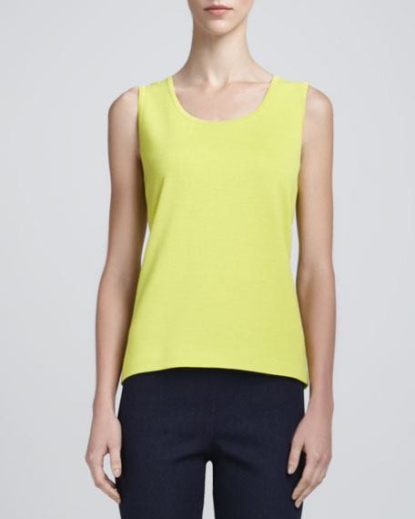 Milano Knit Contour Tank, Chartreuse