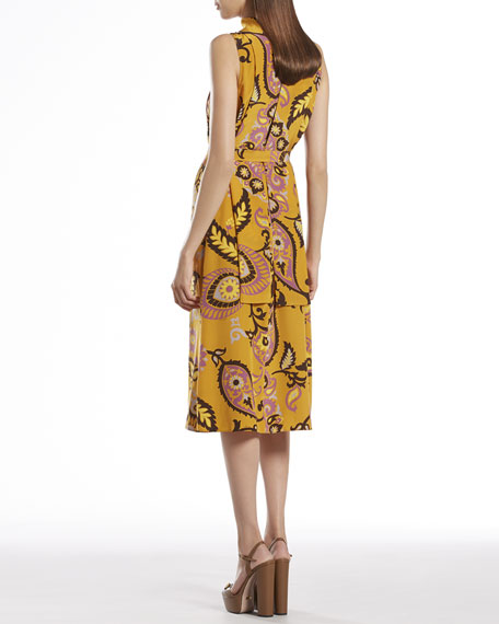 Paisley Print Silk Back-Neck Tie Dress