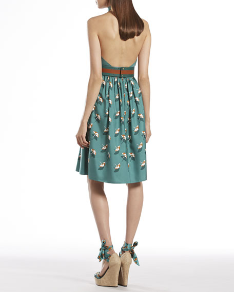Beach Ball Print Silk Halter Dress