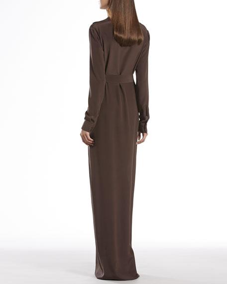 Brown Silk Button-Down Dress