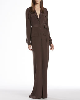 Gucci Brown Silk Button-Down Dress