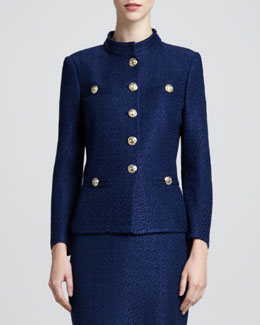 St. John Collection Tonal Stand-Collar Jacket, Marine
