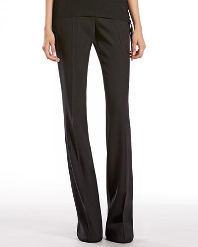 Gucci Black Stretch Wool Skinny Flare Pants