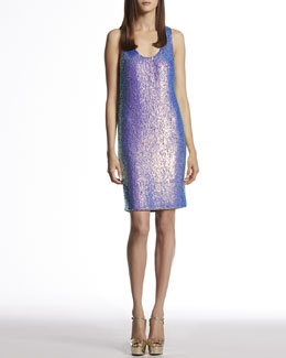 Gucci Blue Violet Silk Georgette Sequin Sleeveless Dress