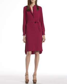 Gucci Fuchsia Fluid Silk Shirtdress
