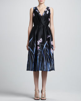 St. John Tulip Print Satin Faced Organza Cocktail Dress with Pleated Wrap Front, Caviar/Multi