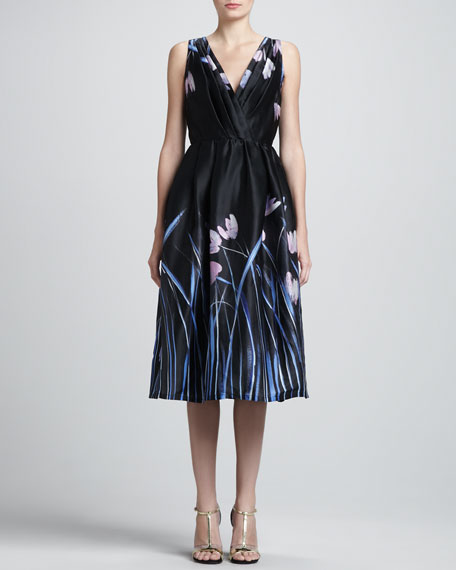 Tulip Print Satin Faced Organza Cocktail Dress with Pleated Wrap Front, Caviar/Multi