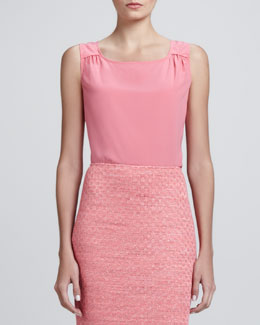 St. John Collection Shell with Shoulder Shirring, Flamingo Pink