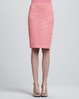 St. John Collection Space-Dyed Damier Pencil Skirt, Flamingo Pink