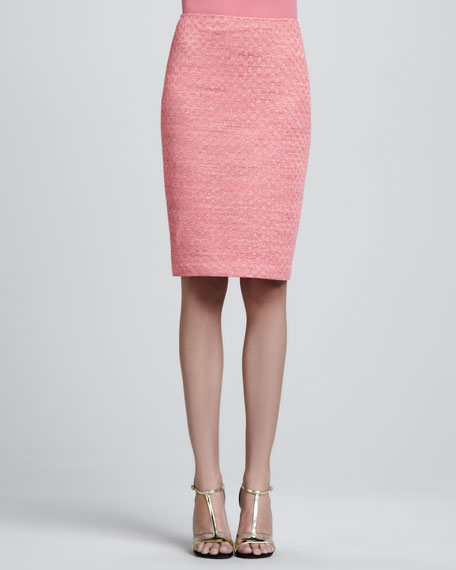 Space-Dyed Damier Pencil Skirt, Flamingo Pink